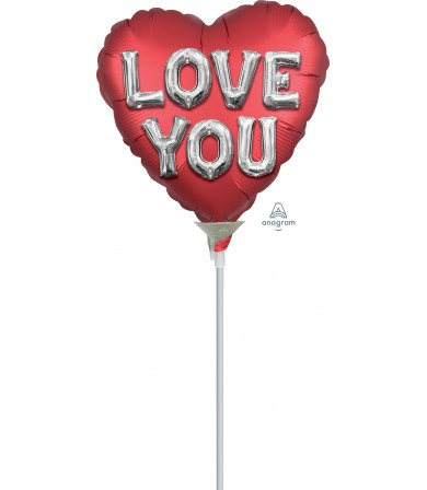 "38810 Satin Love You Balloon Letters (4"")"