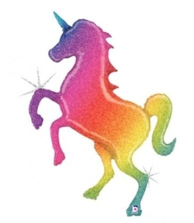 """35700P Glitter Rainbow Unicorn (54"""")"""
