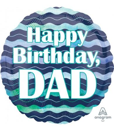 "35564 Watercolor Waves HBD Dad (18"")"