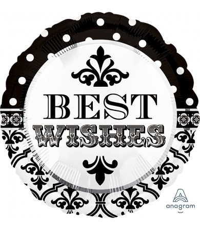 "24545 Damask & Dots Best Wishes (18"")"