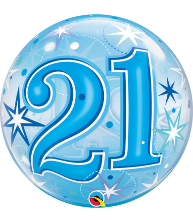 "48441 - 21 Blue Starburst Sparkle [Bubbles Balloon] (22"")"