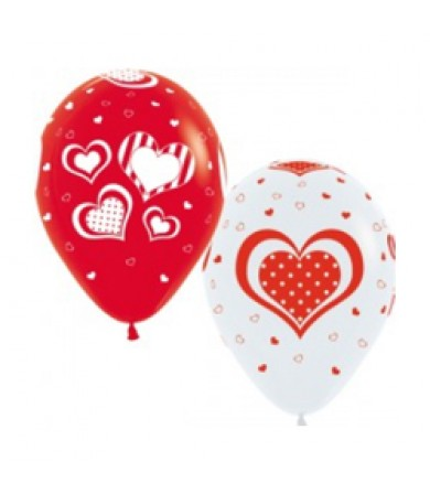 "Sempertex 12"" Fashion Solid White & Red - AO Polka  Hearts"