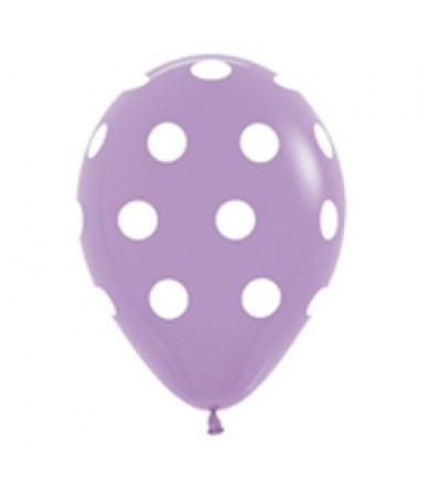 "Sempertex 12"" Fashion Solid Lilac 050 - AO White Polka Dots"