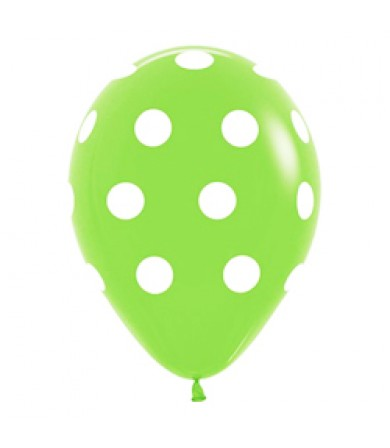 "Sempertex 12"" Fashion Solid L. Green 031 - AO White Polka Dots"