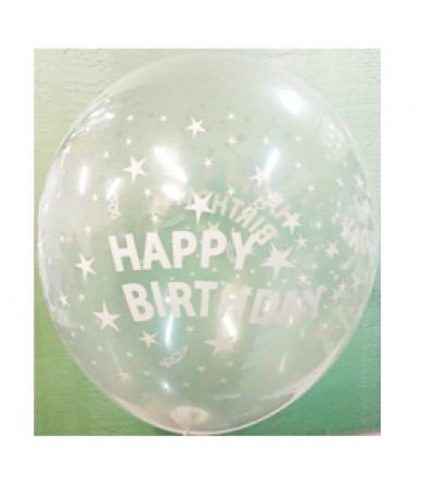 "Sempertex 12"" Crystal Clear 390 - 4 sides Happy Birthday"