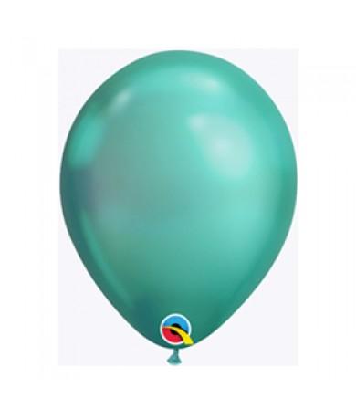 """Qualatex 11"""" Round Balloon Chrome Green ( 100 )"""